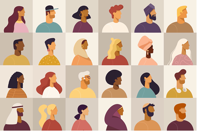Illustrated collage of diverse profile portraits.