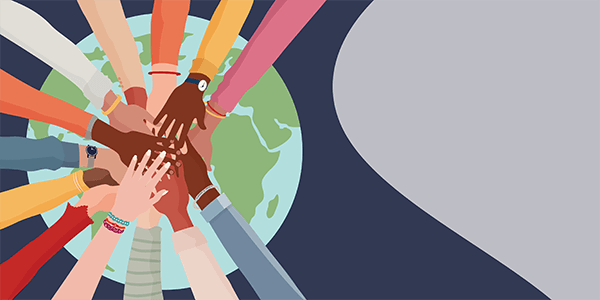 Illustration of many overlapping hands on top of the earth.