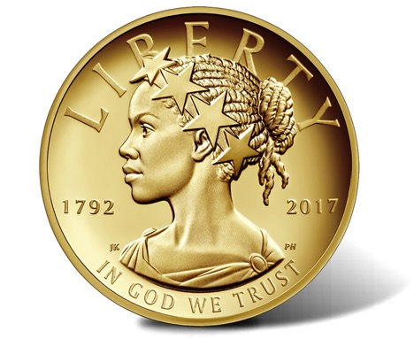 Gold Coin featuring a Black Woman as Lady Liberty