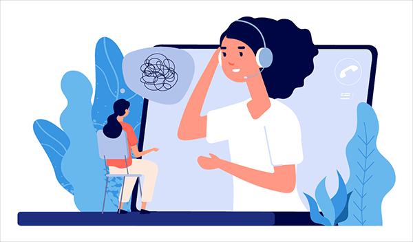Illustration of woman on computer screen with headset speaking to another person