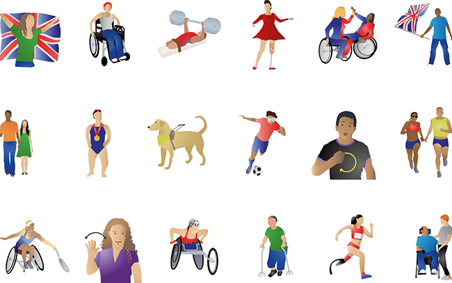 Collage of emojis portraying people with disabilities playing sports