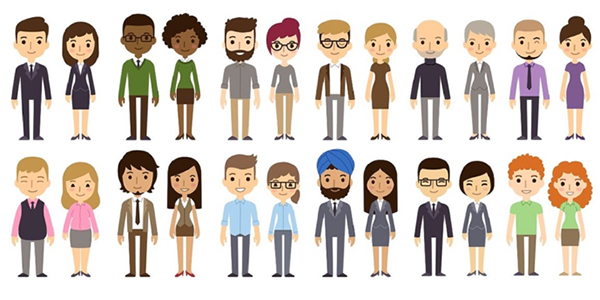 An illustration of people representing a diverse group of skin tones.