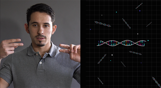 A man signing the proposed ASL sign for DNA next to an image of DNA.