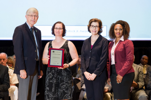 From left, Francis Collins, M.D., Ph.D., Jennifer Eybl, Amy Patterson, M.D., and Treava Hopkins-Laboy