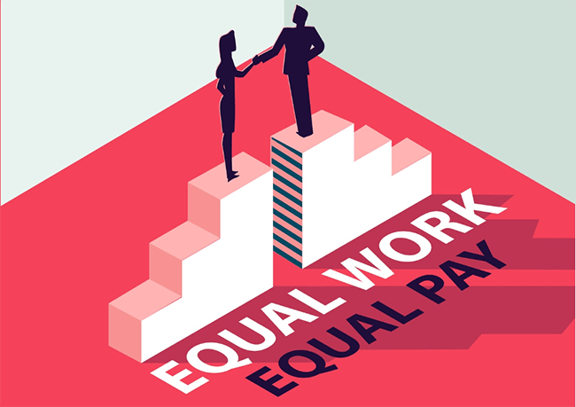 Illustration of man and woman on staircase shaking hands. Equal work, equal pay.