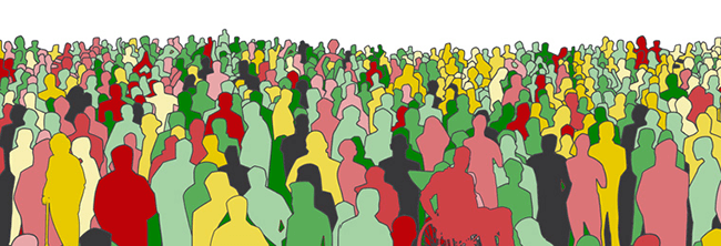 Illustration of a diverse crowd of human silhouettes.
