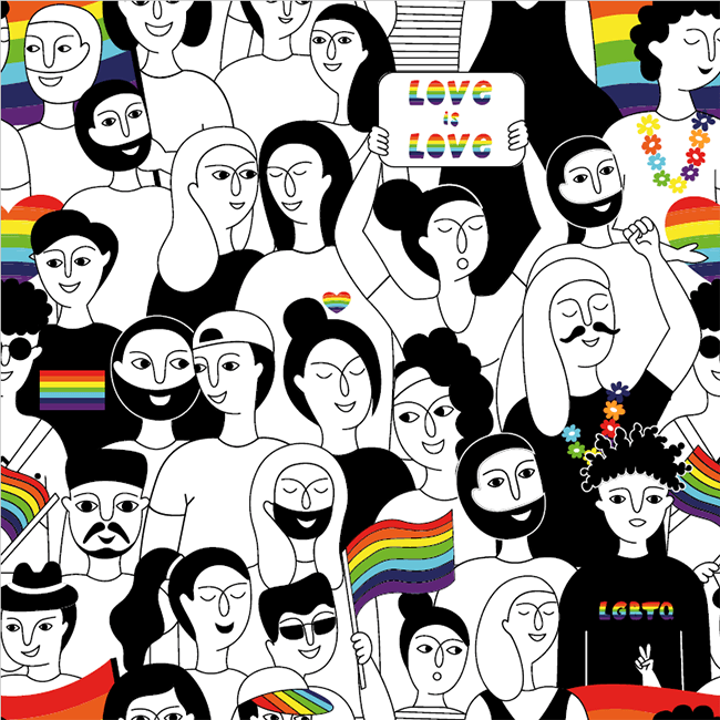 Illustration of a diverse crowd of people holding rainbow Pride flags.