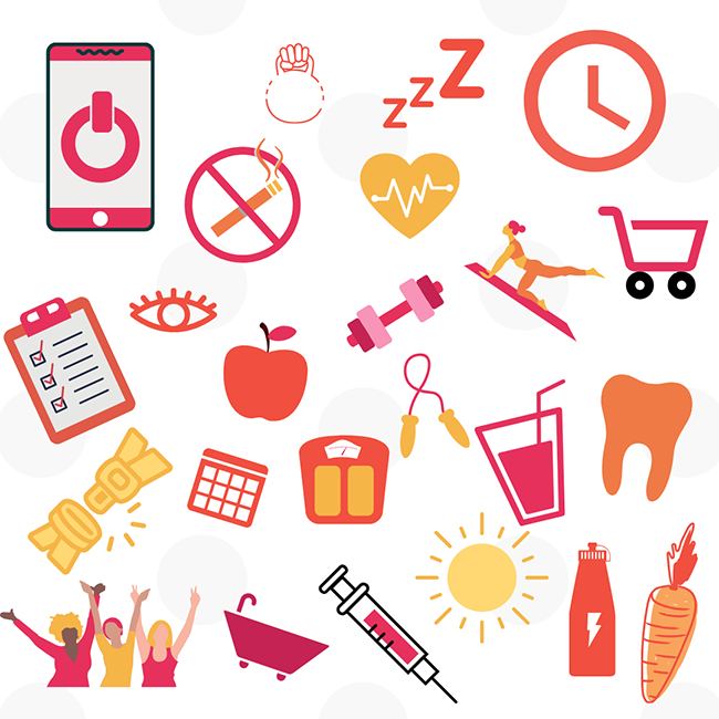 Collage of health related icons such as no smoking sign, a jump rope, a syringe, and an apple.