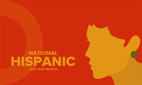 National Hispanic Heritage Month; illustration of woman's face profile against red background
