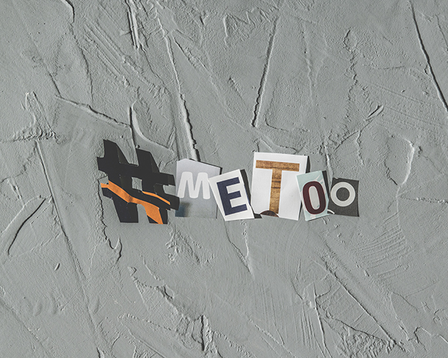 Cutout letters from a magazine forming the popular hashtag #MeToo.