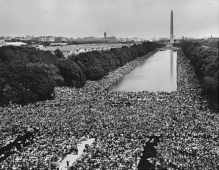 A crowd gathers on The Mall in DC for the 1963 March on Washington for Jobs and Freedom.