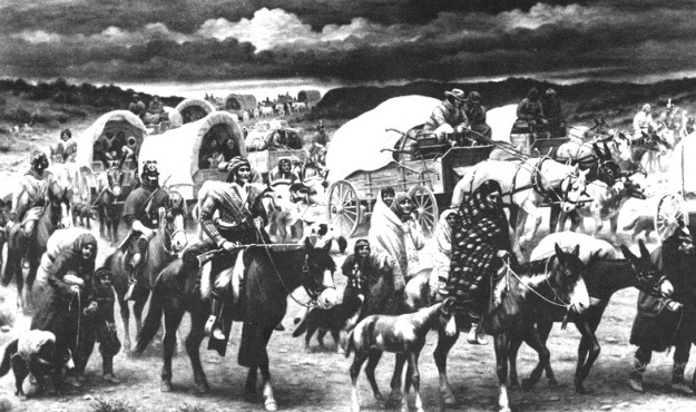 A Native American Wagon Train.