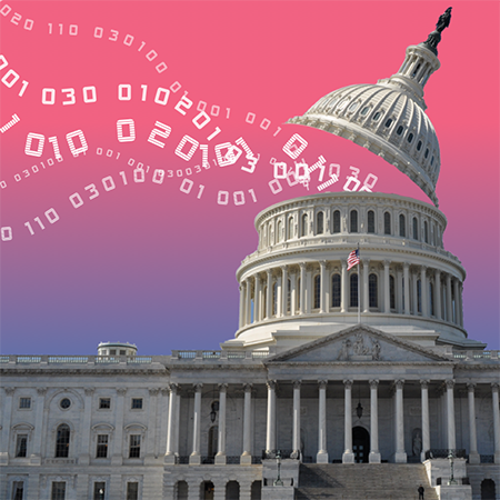 Binary data flowing out of the US Capital Building