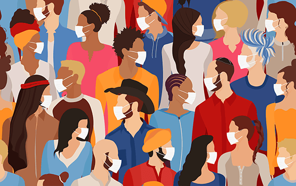 Illustration of diverse crowd of people in medical masks