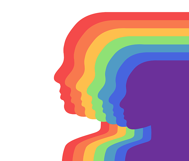 Silhouette of seven heads in every rainbow color.