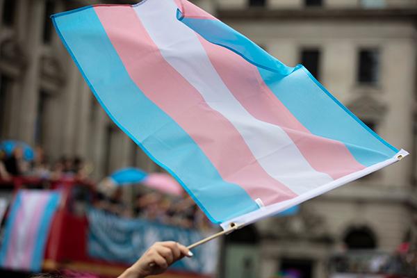 A transgender pride flag being waved at LGBT gay pride march.