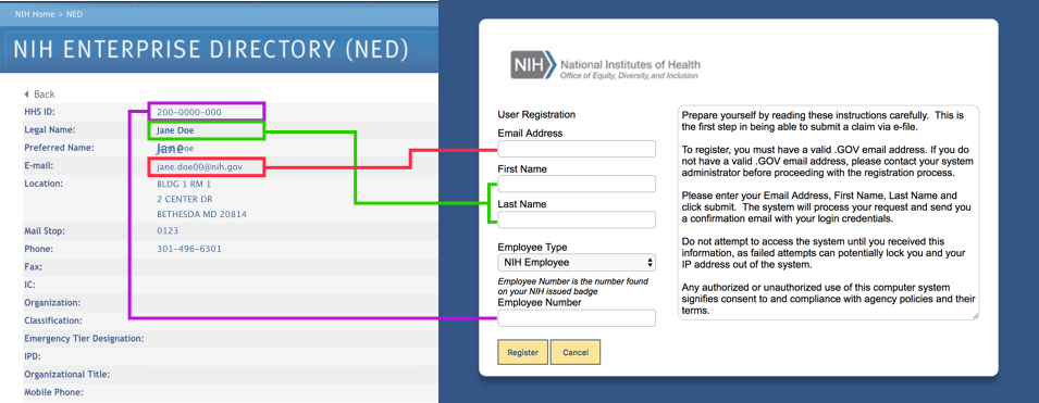 This screenshot shows a NED entry with the registration screen for reference.