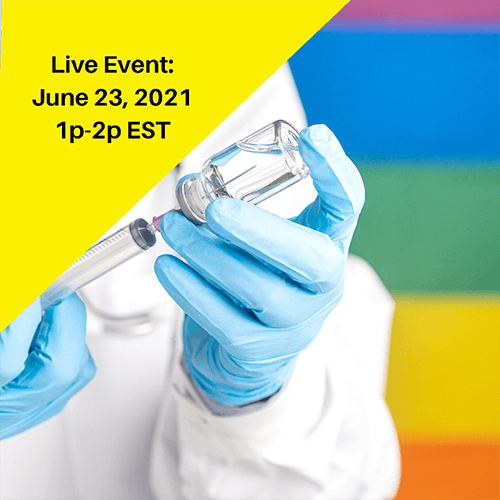 Person in lab coat and gloves uses syringe in front of Pride flag background.