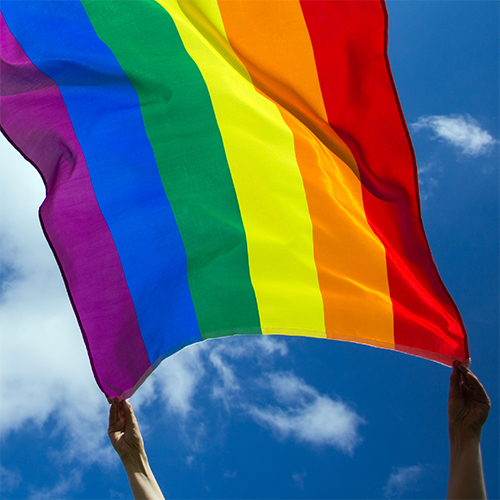 Two hands holding up the Pride flag against the blue sky.