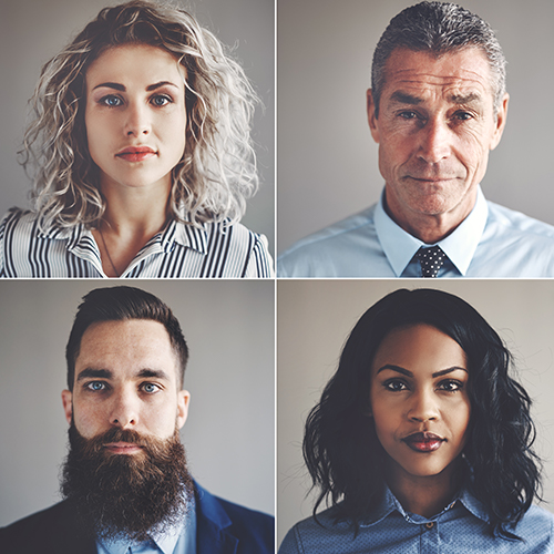 4 window photo collage of a white female, white male, a bearded male, and women of color