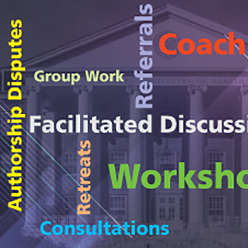 Colorful Graphic with the words Coaching, Workshop, Facilitated Discussions