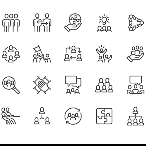 Black and white graphic of various symbols