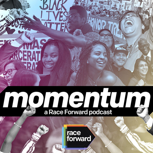 The word Momentum over a black and white collage of varying images of people
