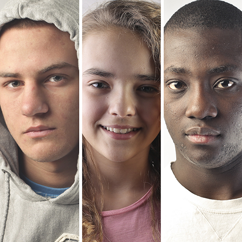 3 window photo collage of a young white male, young white female, and young black male