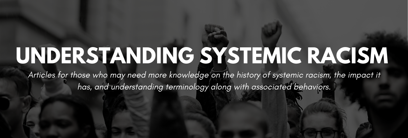 Understanding Systemic Racism. Articles for those who may need more knowledge on the history of systemic racism, the impact it has, and understanding terminology along with associated behaviors.