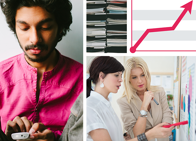 Collage of images including man with a calculator, women at a whiteboard, and a line graph.