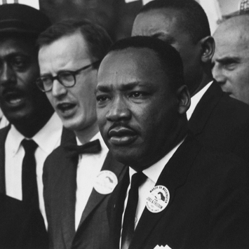 Civil Rights March on Washington, Dr. Martin Luther King, Jr. and Matthew Ahmann in a crowd.