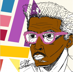 An abstract drawing of Bayard Rustin