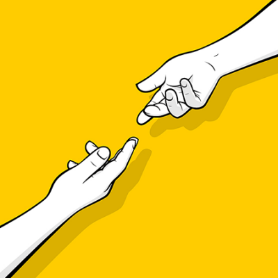Illustrated hands reaching for each other