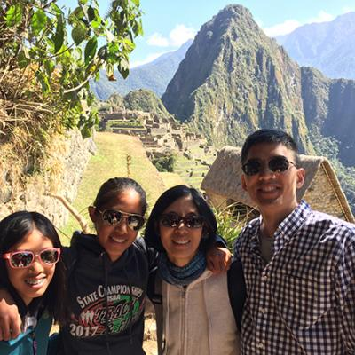 Dr. Chiang on the far right and his family on vacation visiting Machu Picchu in Peru.