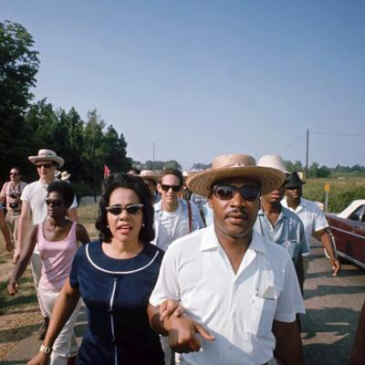 Coretta and Martin March on a Rural Mississippi Road in 1966