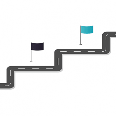A stairstep road with four flags on each step; from left: red flag, black flag, blue flag, yellow flag