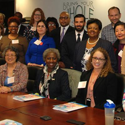 Attendees of an ERG collaboration meeting pose for a photo.