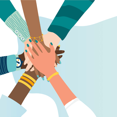 Illustration of 6 overlapping hands of diverse people against light blue background
