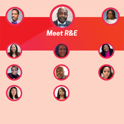 Circular headshots of R&E staff on orange, red, and pink background