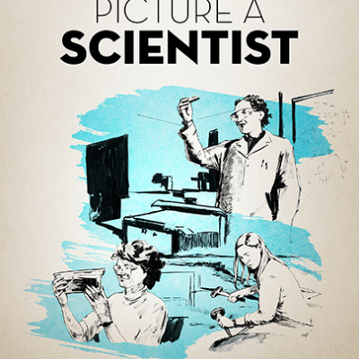 A movie poster with depictions of female scientist performing different tasks