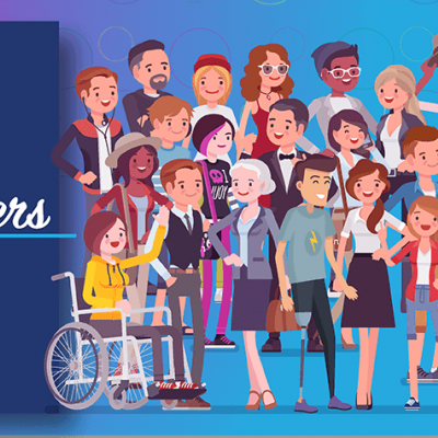 National Disability Employment Awareness Month; Accessibility Matters, Now and Always. Illustration of diverse crowd of people against blue background.