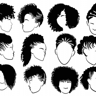 Illustration of many different hair styles worn by African American women