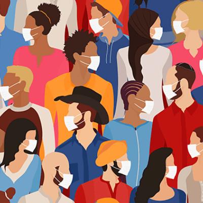 Illustration of diverse crowd of people in medical masks