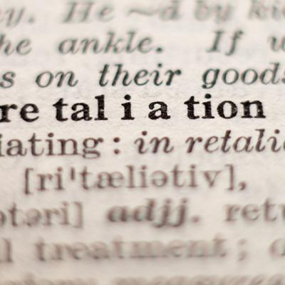 A page from the dictionary featuring the word retaliation.