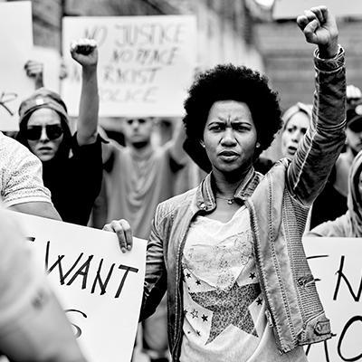 Black and white photo of protestors