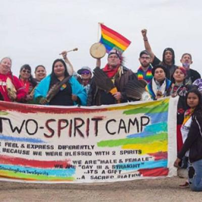 A group of people attending Two Spirit Camp