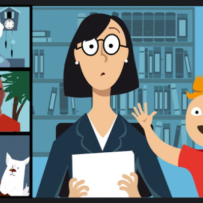 Illustration of adults working from home with different backgrounds: outside; with kid; with pet; and wall art.