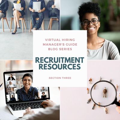 Collage from left to right: individuals sitting for job interview, woman smiling, virtual conference call, magnifying glass on figure of person.